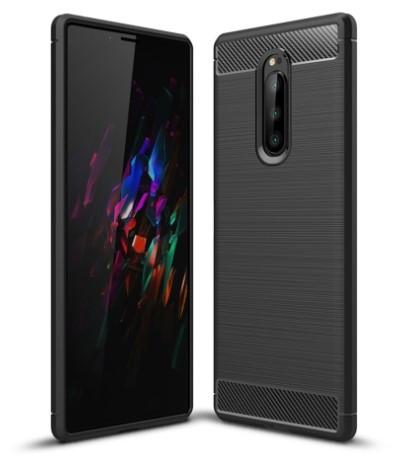 Sony Xperia 1 Carbon Fiber Shockproof TPU Phone Cover Black